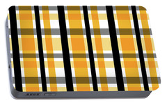 Portable Battery Charger featuring the photograph Yellow Gold And Black Plaid Striped Pattern Vrsn 2 by Shelley Neff