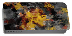 Portable Battery Charger featuring the painting Yellow / Golden Abstract / Surrealist Landscape Painting by Ayse Deniz