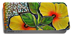 Yellow Hibiscus A Decorative Painting With Mosaic Style On Sale Portable Battery Charger