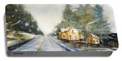 Yellow House On The Right Portable Battery Charger by Judith Levins