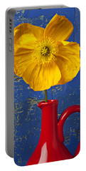 Yellow Iceland Poppy Red Pitcher Portable Battery Charger