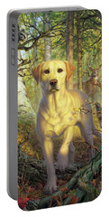 Yellow Lab In Fall Portable Battery Charger