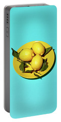 Yellow Lemons On Cyan Portable Battery Charger by Oleg Cherneikin