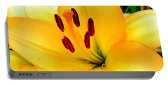 Portable Battery Charger featuring the photograph Yellow Lilies 1 by Randall Weidner