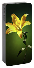 Yellow Lilly With Stem Portable Battery Charger