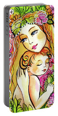 Portable Battery Charger featuring the painting Yellow Madonna With Child by Eva Campbell