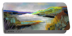 Portable Battery Charger featuring the painting Yellow Mountain by Frances Marino
