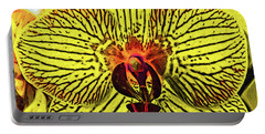 Portable Battery Charger featuring the digital art Yellow Orchid Bloom In Fauvism by Kirt Tisdale
