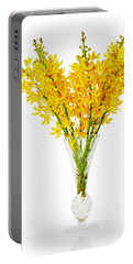 Yellow Orchid In Crystal Vase Portable Battery Charger