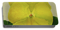 Portable Battery Charger featuring the painting Yellow Pansy by Wendy Shoults