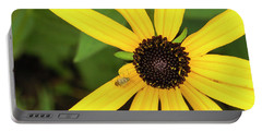 Yellow Petaled Flower With Bug Portable Battery Charger