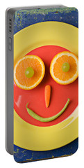 Yellow Plate With Food Face Portable Battery Charger