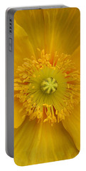Yellow Poppy Flower Center Portable Battery Charger