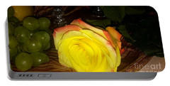 Yellow Rose And Grapes Portable Battery Charger