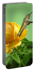 Yellow Rose And Hummingbird 2 Portable Battery Charger