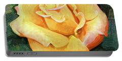 Yellow Rose Bloom In Oil Portable Battery Charger