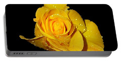 Yellow Rose With Dew Drops Portable Battery Charger