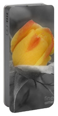 Yellow Rosebud Partial Color Portable Battery Charger