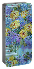 Yellow Roses And Lilacs Portable Battery Charger