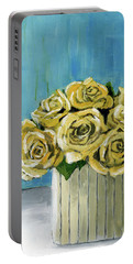 Yellow Roses In Vase Portable Battery Charger