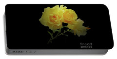 Yellow Roses On Black Portable Battery Charger