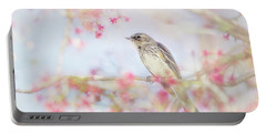 Yellow-rumped Warbler In Spring Blossoms Portable Battery Charger