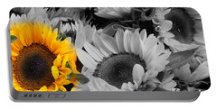 Yellow Sunflower On Black And White Portable Battery Charger