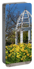 Portable Battery Charger featuring the photograph Yellow Tulips And Gazebo by Tom Mc Nemar