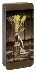 Portable Battery Charger featuring the photograph Yellow Tulips In Glass Bottle Sepia by Terry DeLuco