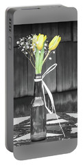 Portable Battery Charger featuring the photograph Yellow Tulips In Glass Bottle by Terry DeLuco