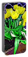 Yellow Tulips Portable Battery Charger by Joan Reese