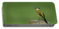 Yellow Wagtail Perching On The Roundpole Portable Battery Charger