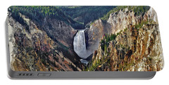Portable Battery Charger featuring the digital art Yellowstone Falls Seen From Artist Point by Kai Saarto