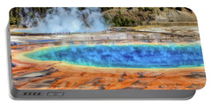 Portable Battery Charger featuring the painting Yellowstone National Park Grand Prismatic Spring by Christopher Arndt