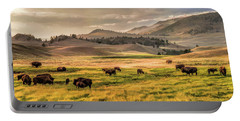 Portable Battery Charger featuring the painting Yellowstone National Park Lamar Valley Bison Grazing by Christopher Arndt