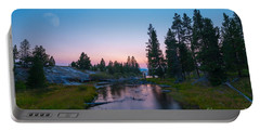 Yellowstone National Park Sunset And Moon Portable Battery Charger
