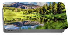 Portable Battery Charger featuring the painting Yellowstone National Park Trout Lake by Christopher Arndt