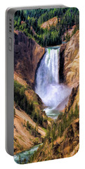 Portable Battery Charger featuring the painting Yellowstone National Park Upper Falls by Christopher Arndt