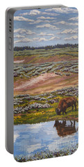 Portable Battery Charger featuring the painting Yellowstone Reflections by Erin Fickert-Rowland