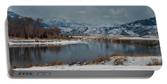 Yellowstone River In Light Snow Portable Battery Charger