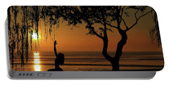 Yoga By The Bay At Sunset Portable Battery Charger