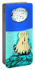 Yoga By The Sea Under The Moon Portable Battery Charger