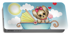 Portable Battery Charger featuring the painting Yorkie Baby Strolling  by Catia Lee