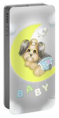 Portable Battery Charger featuring the painting Yorkie Fofa Baby by Catia Lee