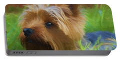 Portable Battery Charger featuring the painting Yorkie In The Grass - Painting by Ericamaxine Price