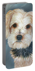 Portable Battery Charger featuring the painting Yorkie Portrait by Karen Zuk Rosenblatt