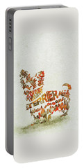 Portable Battery Charger featuring the painting Yorkshire Terrier Watercolor Painting / Typographic Art by Inspirowl Design