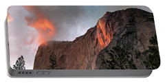Yosemite, Horsetail Falls, Cloudy Sunset Portable Battery Charger