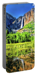 Portable Battery Charger featuring the painting Yosemite National Park Bridalveil Fall by Christopher Arndt