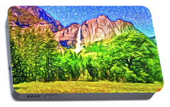 Portable Battery Charger featuring the painting Yosemite National Park by Joan Reese